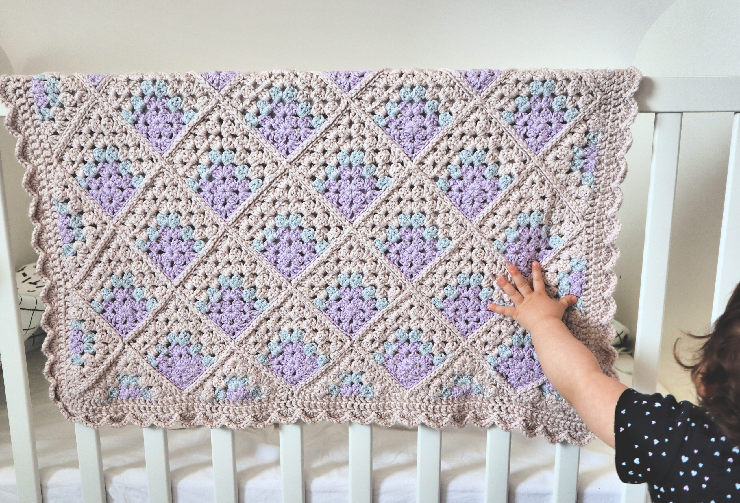Modern Mitered Granny Square Blanket Crochet Baby Blanket Pattern The Snugglery