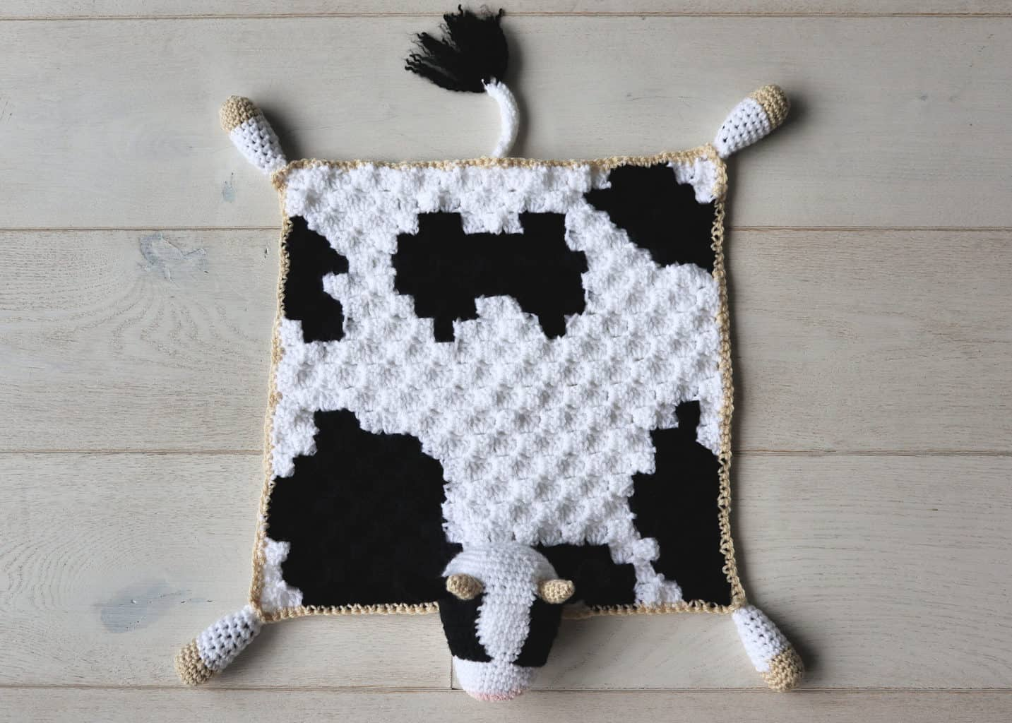 Bessie The Cow Lovey Crochet Baby Blanket Pattern The Snugglery