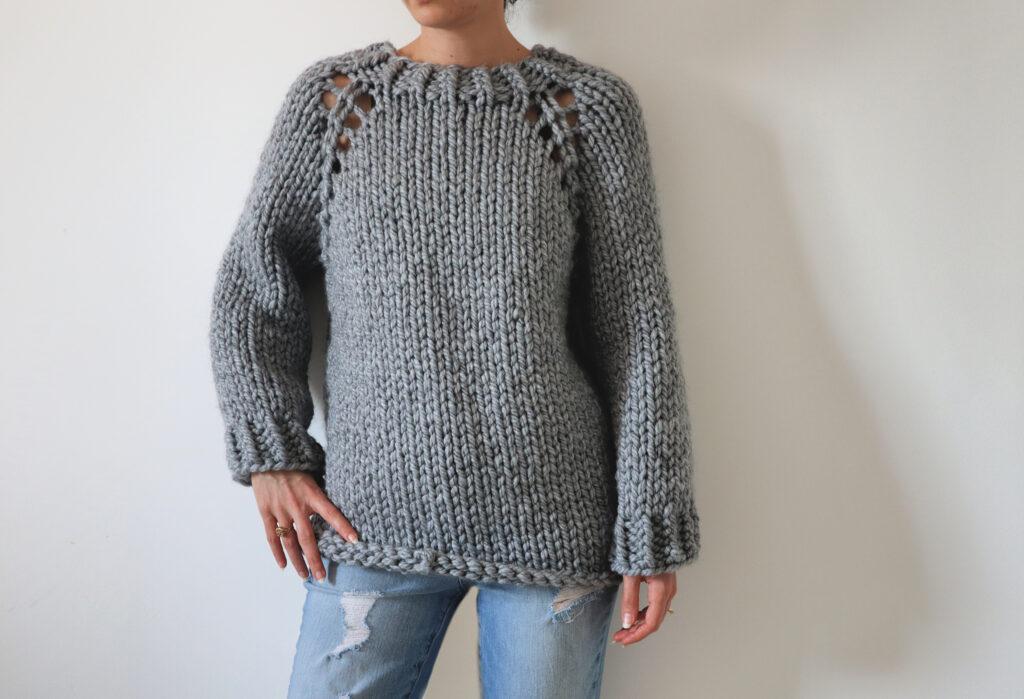 Super Chunky Raglan - Top Down Knit Sweater Pattern - The ...