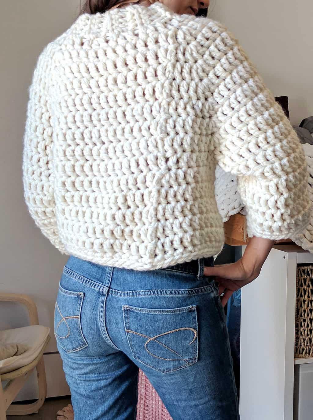Chunky Cropped Raglan Sweater Crochet Sweater Pattern The Snugglery