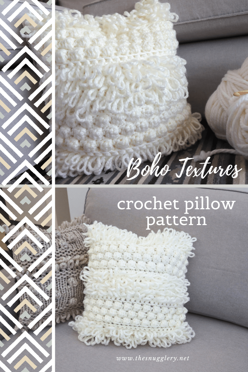Boho Textures Throw Pillow Free Crochet Pattern The Snugglery