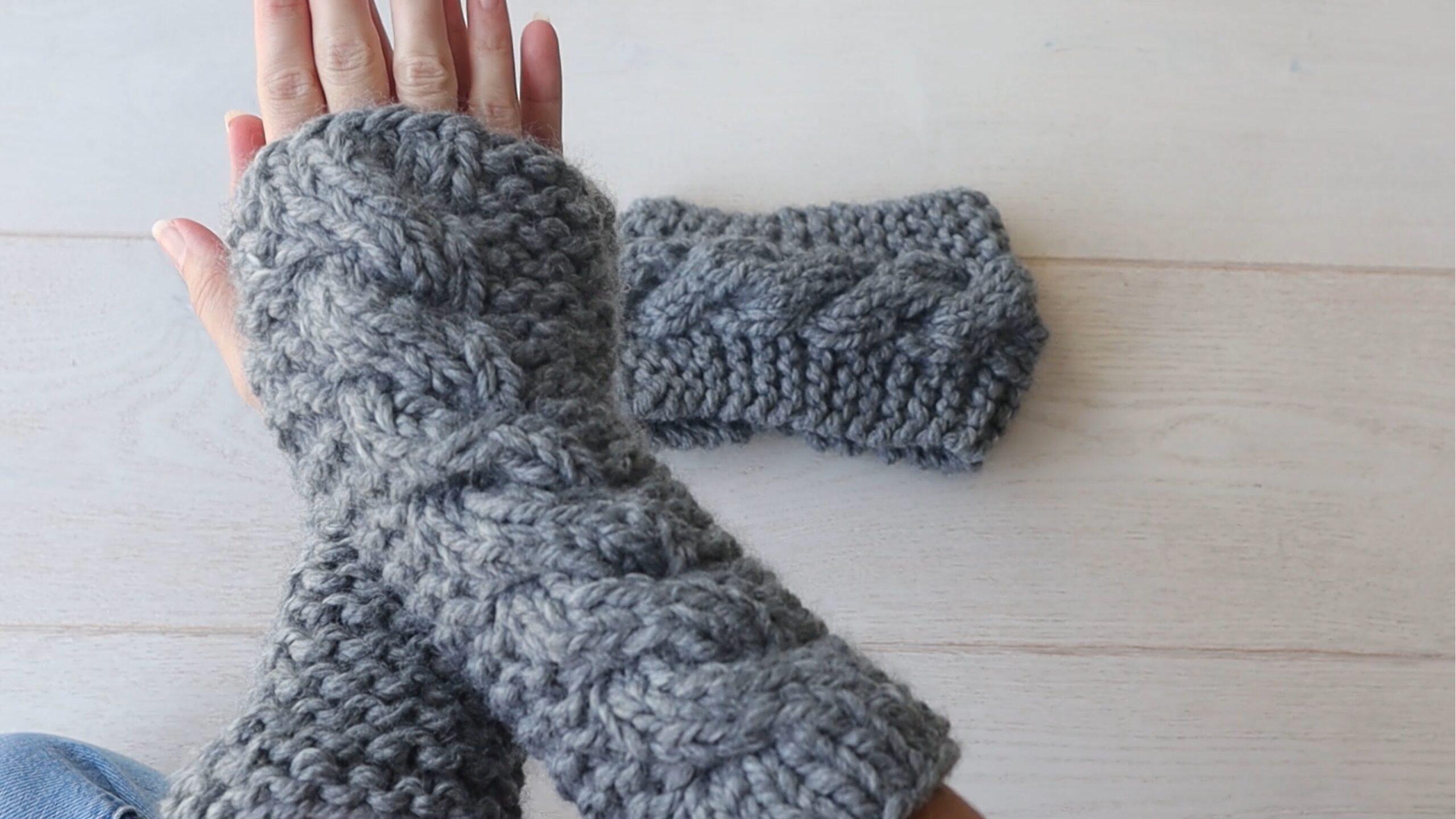 gants sans doigts en tricot torsadé