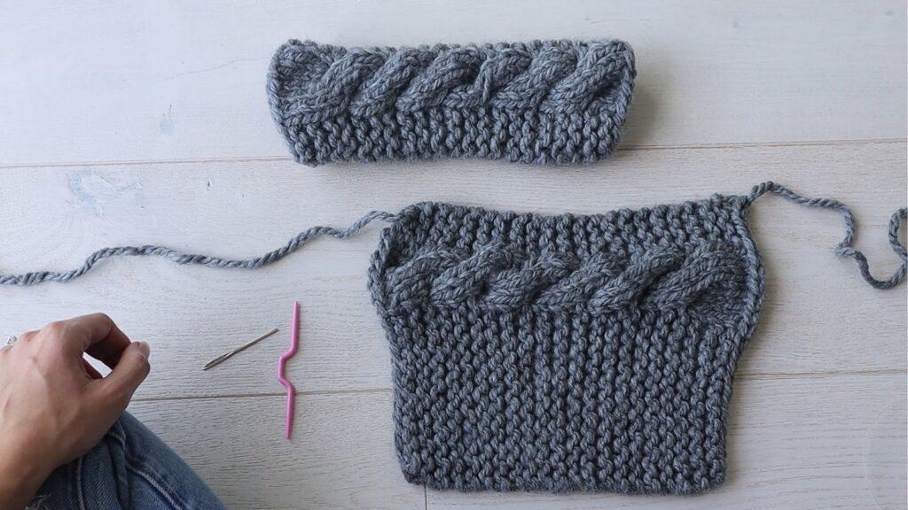 gants sans doigts en grosse maille torsadée